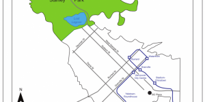 A map of the skytrain route in downtown Vancouver. Stanley Park is in green and the rest of downtown Vancouver is in white. Major streets are displayed along with skytrain lines and stations in navy blue.