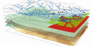 Many layers of one landscape, each displaying different topographic, stream, point, and geologic information