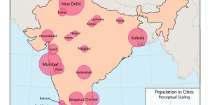 A map of cities in India with populations greater than 2 million, 2014. The map highlights India in pink and neighbouring countries in grey. City populations are represented by larger or smaller translucent pink circles.