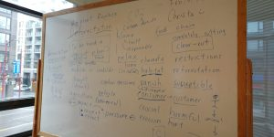 "A whiteboard with vocabulary words from an English Conversation Program class on the topic of ""Deforestation"""